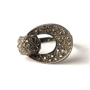 Vintage Marsala Marcasite Ring 925 Sterling Silver